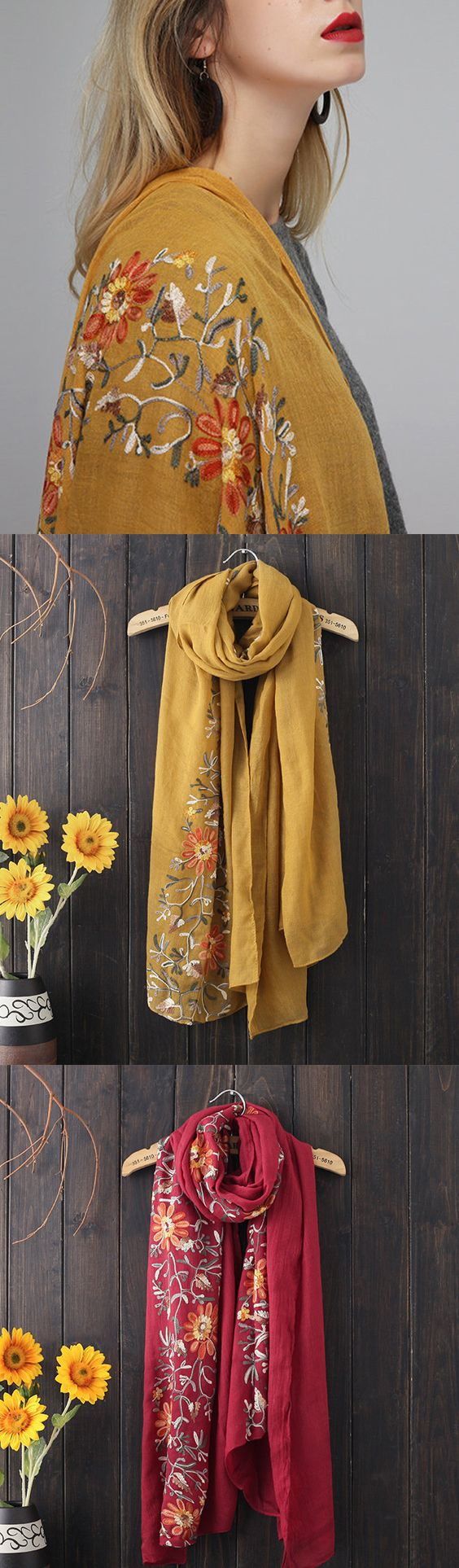Women Ethnic Style Embroidered Cotton Scarf Shawl Plus Size Casual Warm Breathable Scarves