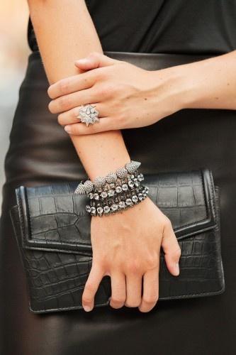 Blogger Colby Jordan of Minnie Muse wearing a Lanvin bracelet, Eddie Borgo bracelet and ring.