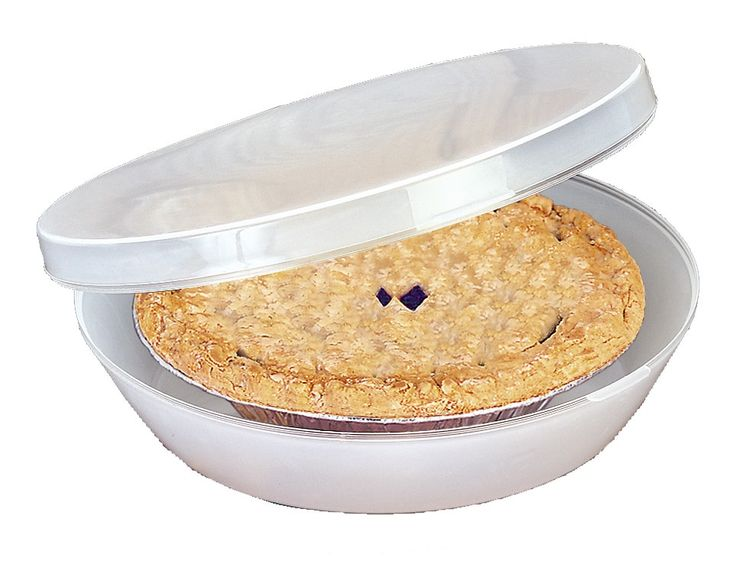 """This see-through, crush-proof container snaps tight to keep your creations fresh. The container holds pies up to 9""""Dia. The 3½"""" depth easily accommodates cream pies and meringues. Flat top allows for stacking."""