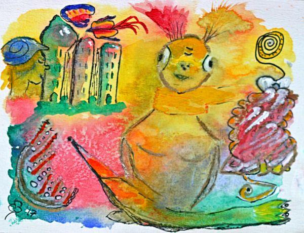 """New painting uploaded """"alien lady"""" #batyahav #art #batyahavart https://fineartamerica.com/featured/alien-lady-dagmar-batyahav.html"""