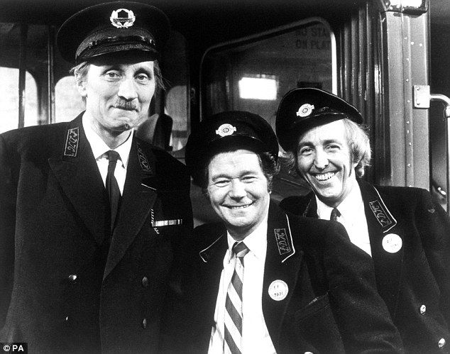 Sitcom stars: (From left) Stephen Lewis, Reg Varney and Bob Grant on the set of from On the Buses in 1973