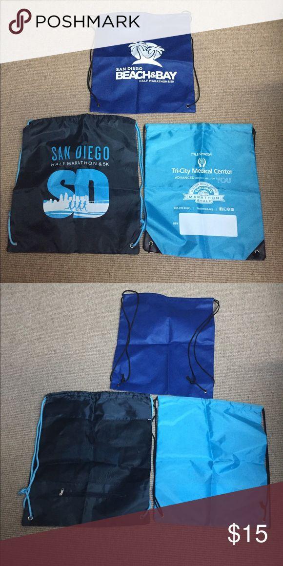 Three blue Half Marathon cinch bags NWOT. San Diego Half Marathon and 5k; San Diego Beach & Bay Half Marathon and 5k; and Tri-City Medical Center Carlsbad Marathon & Half Bags