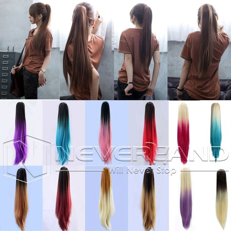 Best 25 ponytail hair extensions ideas on pinterest clip in sexy party multicolor 20 long straight synthetic hair extensions two tone ombre claw clip in pmusecretfo Gallery
