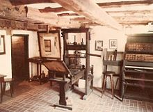 A Gutenberg press replica at the Featherbed Alley Printshop Museum, in Bermuda,  https://en.wikipedia.org/wiki/Johannes_Gutenberg