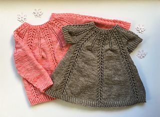 Seraphina Sweater and Dress is worked top-down with a circular yoke. The yoke is created by increasing in a certain way described in details in the pattern. The sweater and dress are worked in the round in one piece and therefore require a minimum of finishing.