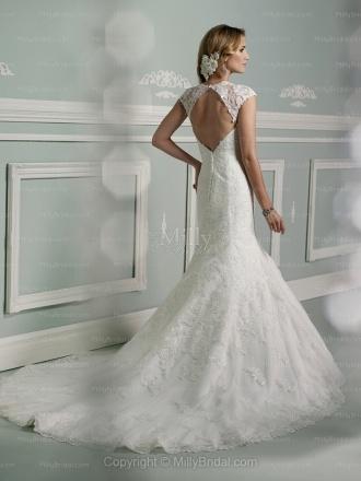 Trumpet/Mermaid Scoop Lace Satin Chapel Train White Appliques Wedding Dresses