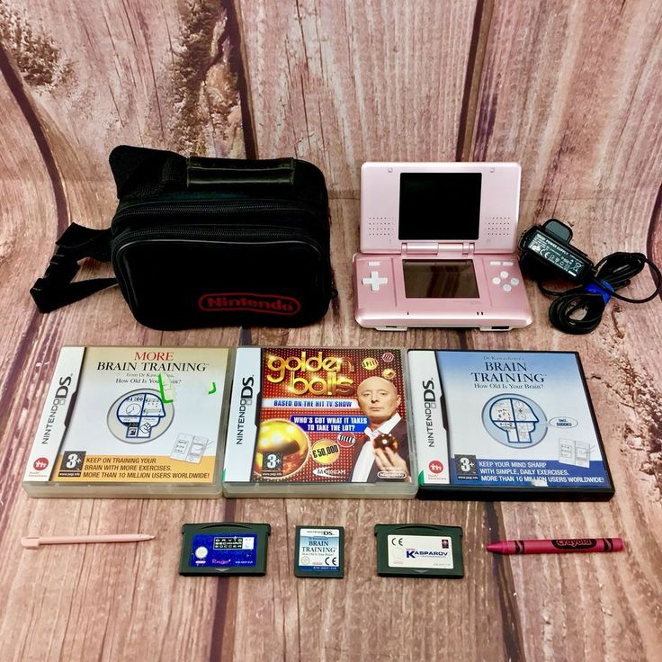 Nintendo Ds Bundle Pearl Pink Console Case Charger Crayon Stylus Bag 6 x games