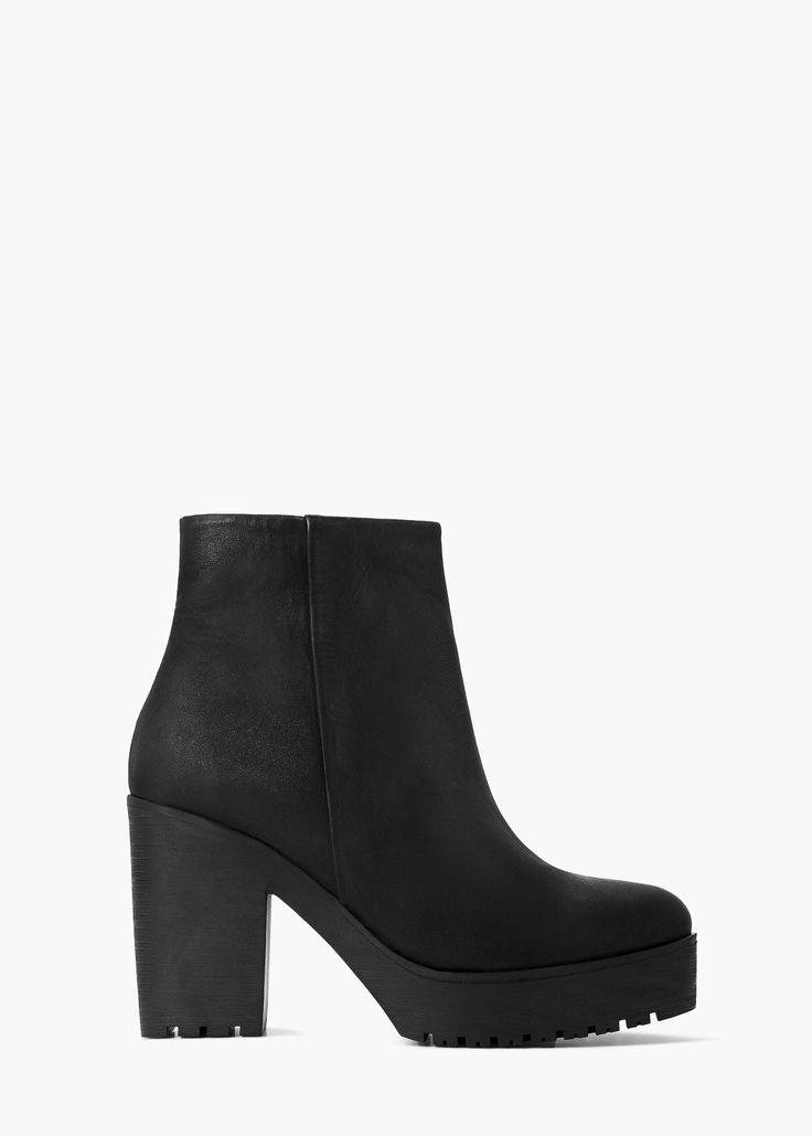 Кожаные ботинки на платформе - Женская | MANGO