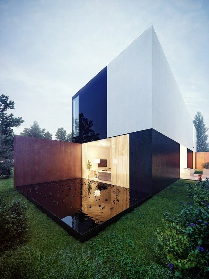 Highly contrasted house by KMA u2013 Kabarowski Misiura