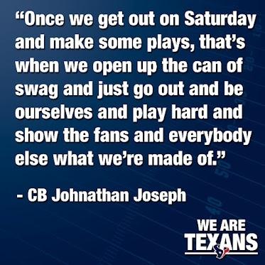 CB Johnathan Joseph is ready for the Houston Texans' preseason opener at Carolina this Saturday.