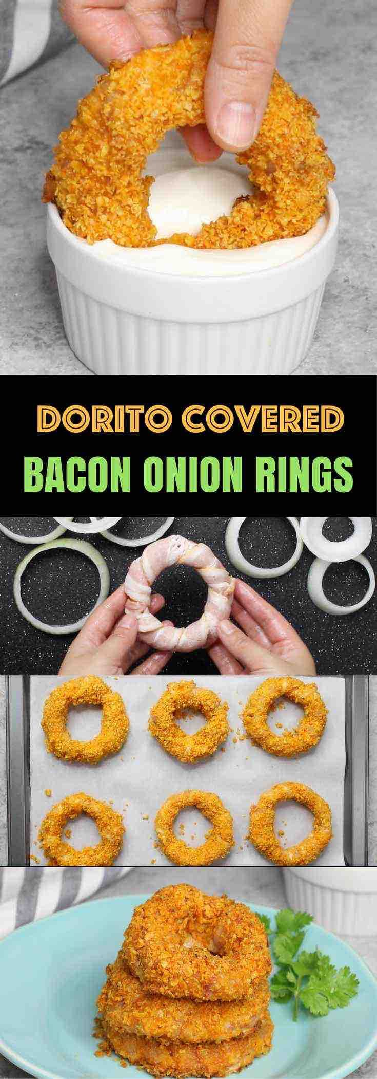 These Dorito Bacon Onion Rings are the ultimate crowd-pleasing snack - easy to make with just 4 ingredients.