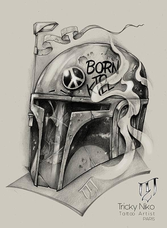 Boba Fett by Tricky Niko (Paris-fr) #blackngrey #tattoo #drawing #paris #trickyniko #boba #fett #bobafett #skull #flash #french #frenchtattooartist #matierenoi…