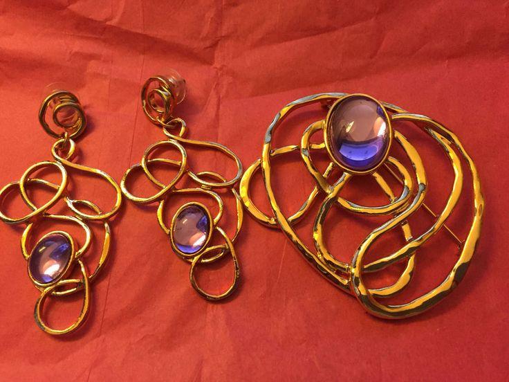 Avon Magnificent Golden Web Earrings & Brooch w/Purple Stone w/Original Box #Avon #EarClamp