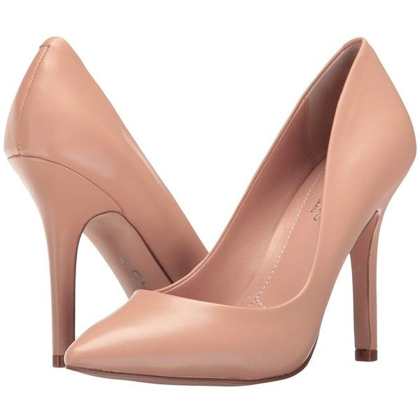 Charles by Charles David Maxx (Nude Leather) High Heels (€83) ❤ liked on Polyvore featuring shoes, pumps, heels, high heeled footwear, leather slip on shoes, nude high heel shoes, high heel pumps and heel pump