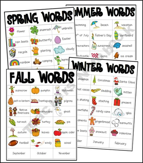 Seasonal words with pictures- Winter, Spring, Summer and Fall -Freebie to add to writing center