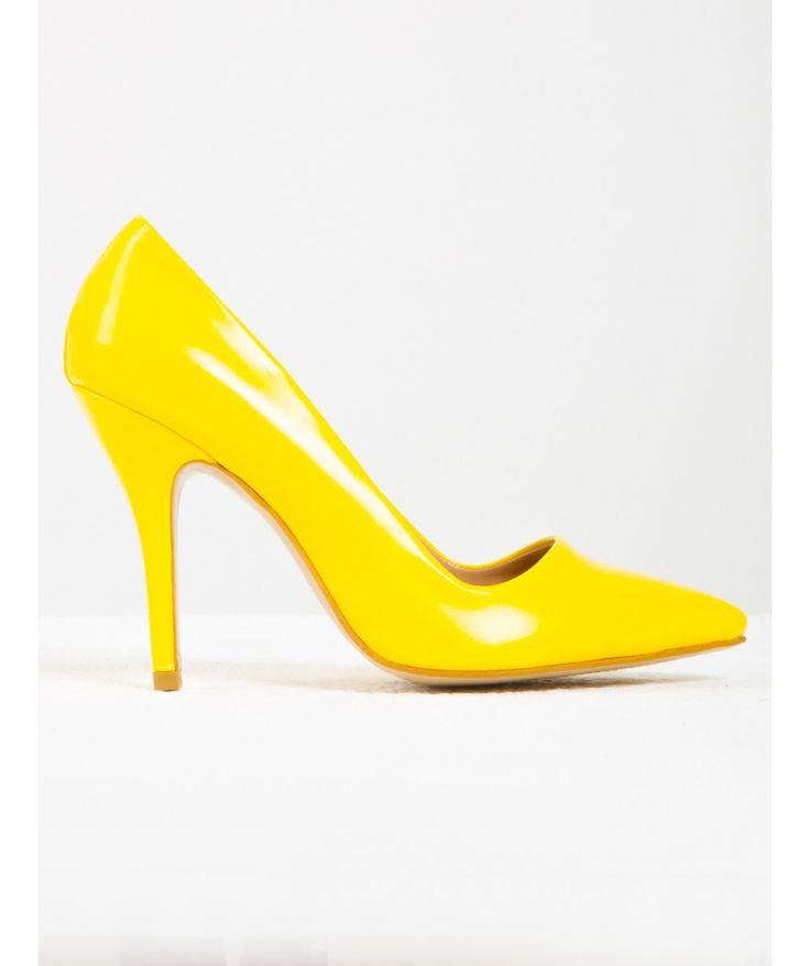 Sarı Mat Rugan Stiletto