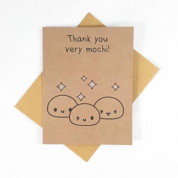 Thank You Card, Mochi, Funny Card, Funny Greeting Card, Greeting Cards, Pun Card, Cute Card, kawaii