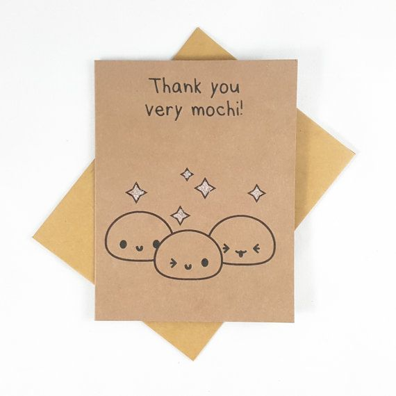 Thank You Card Mochi Funny Card Funny Greeting Card by papercute