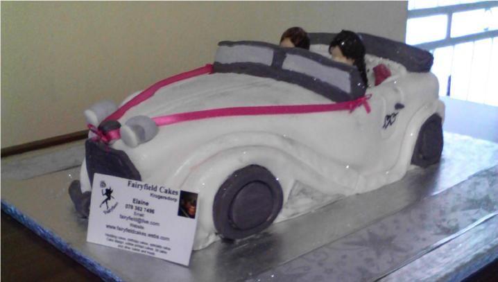 Vintage car wedding cake - Wedding cake by Fairyfield cakes Krugersdorp fairfield@live.co.za 0839427354