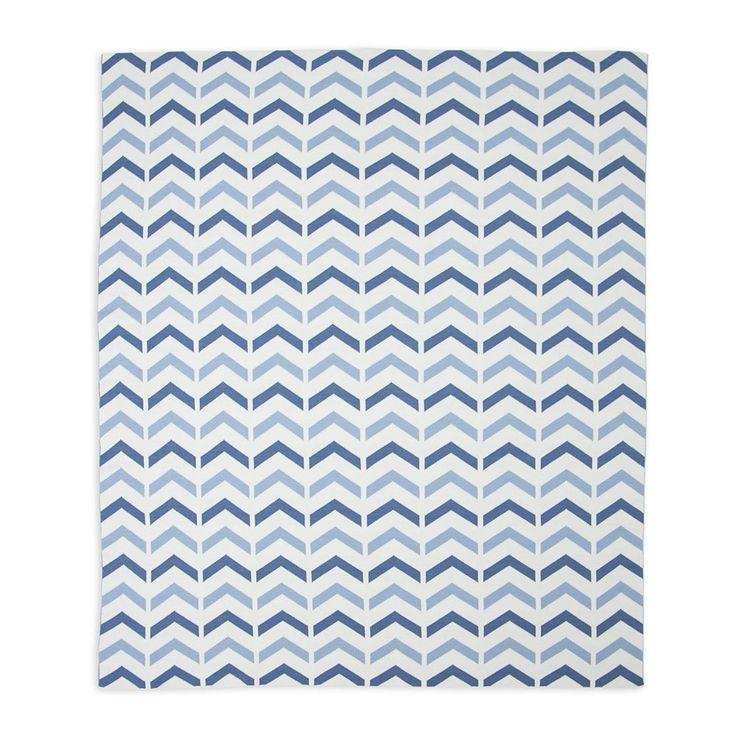 Cotton Knitted Blanket - Ziggy Blue