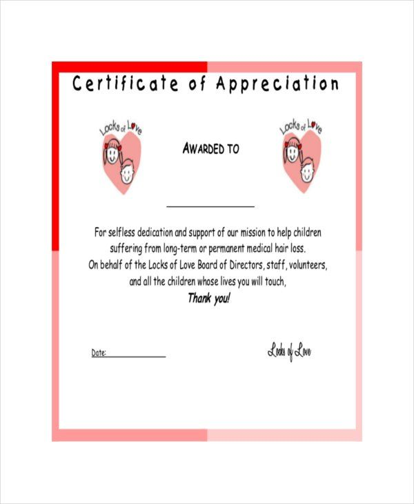 Certificate of Appreciation Templates 12+ Free Word, Excel  PDF