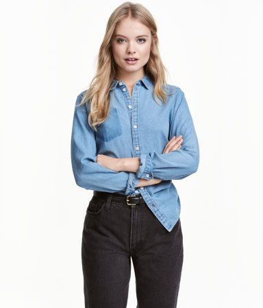 Jeansbluse | Blau | Damen | H&M DE