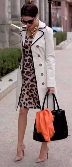 Leopard sheath dress, creme trench with black piping, black bag with pop of orange scarf