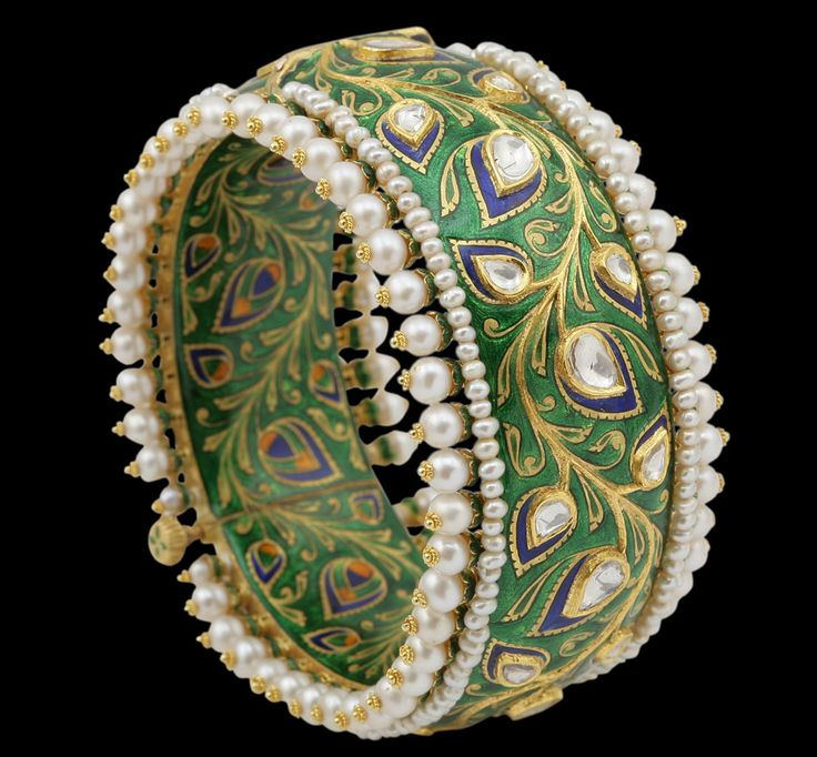Sunita Shekhawats green enamel bangle of leaf motifs with rose-cut diamonds and pearls.
