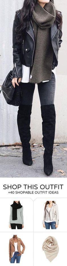 #winter #fashion / Black Biker Jacket / Green Scarf / Dark Skinny Jeans / Black OTK Boots