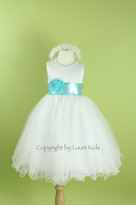 Flower Girl Dress  WHITE Wavy Bottom Dress with Blue by LuuniKids, $38.50