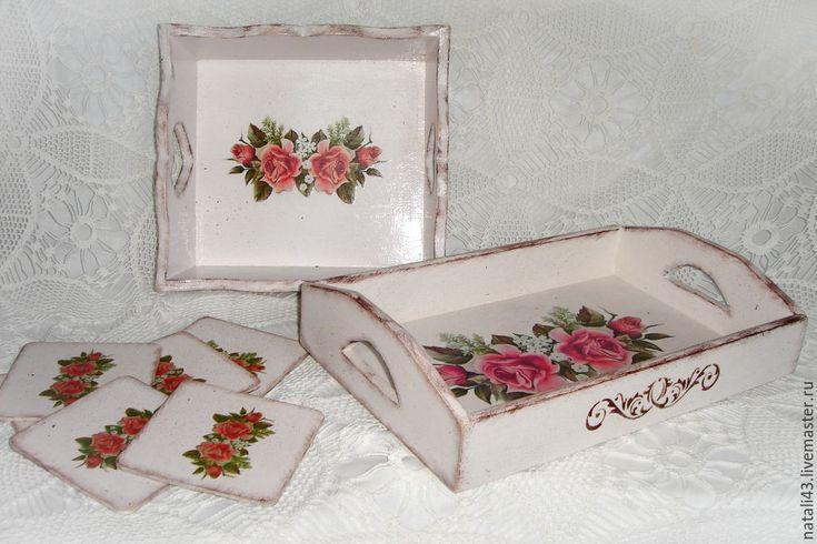 """Купить Набор для кухни """"Розовые розы"""" - кремовый, набор для кухни, поднос для кухни, конфетница"""