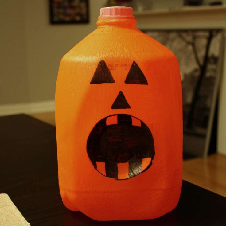 Milk Carton Halloween Crafts Part - 46: Turn Your Empty Milk Jug Into A Jack Ou0027 Gallon! After Washing And Drying An  Empty Milk Jug, Give It A Few Coats Of Orange Paint.