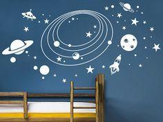 Aus dem Weltraum wagen wir einen kleinen Blick auf unser winziges Sonnensystem... Tolles Weltall Wandtattoo für kleine Astronauten und Raumfahrer!