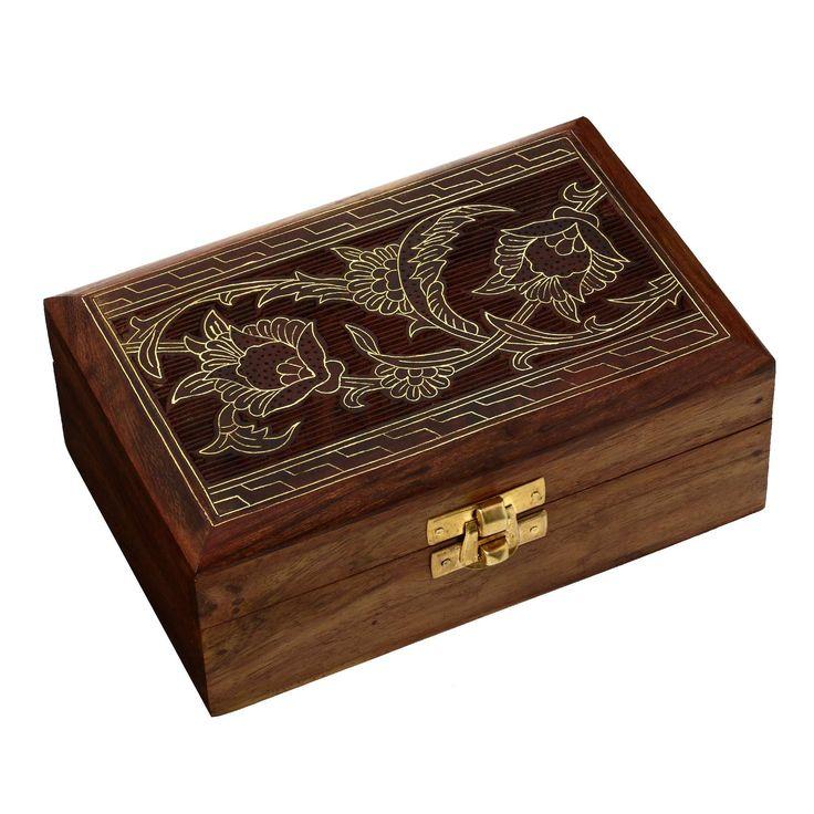 boite a bijoux en bois laiton sculpture de la main le travail de marqueterie: Amazon.fr: Bijoux