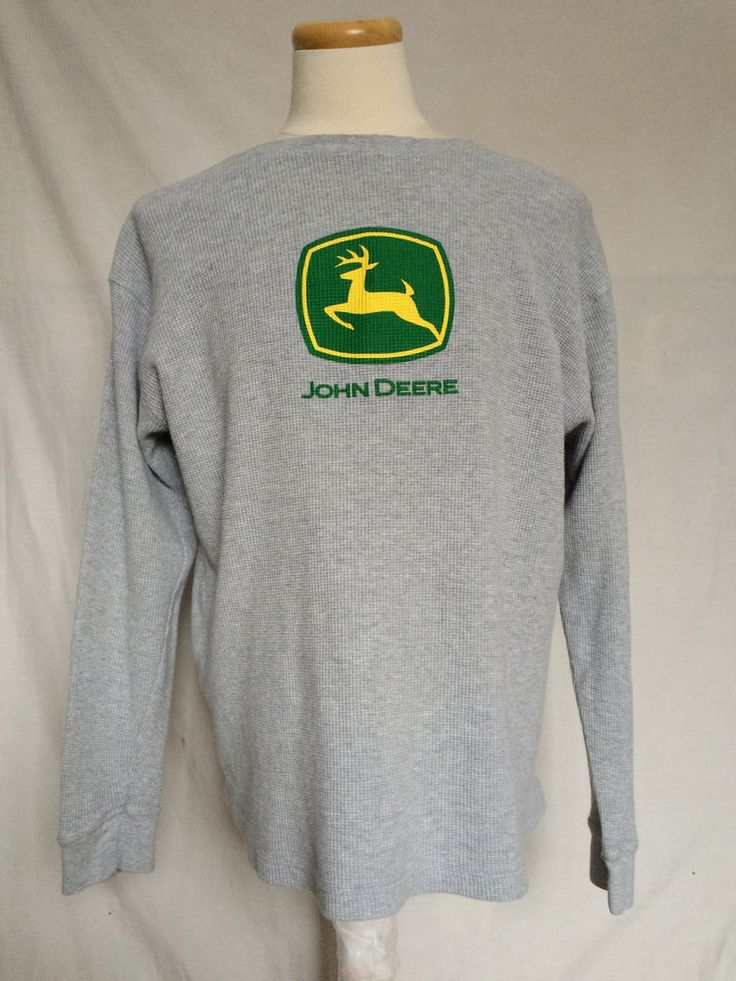 John Deere Mens Pullover Sweater Sz Large Gray Logo Crewneck Long Sleeves #JohnDeere #Crewneck