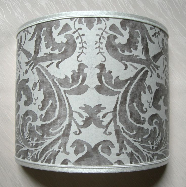 Wall Light Half Lampshade Fortuny Fabric Lucrezia in Pearl Grey & Antique White Wall Lamp