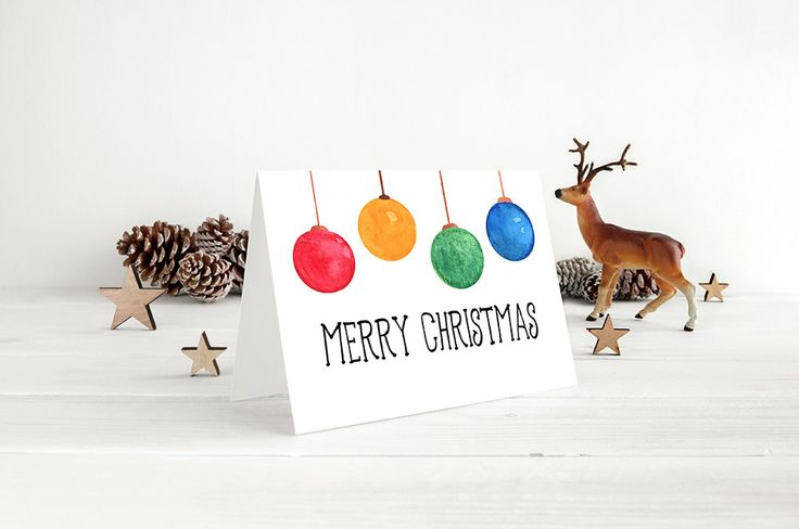 "Merry Christmas Greeting Card - Watercolor Christmas Card ""Christmas Ornament Bulbs"" Watercolor Greeting Card (Set of 10) - Happy Holidays by PaintTheDayDesigns on Etsy"