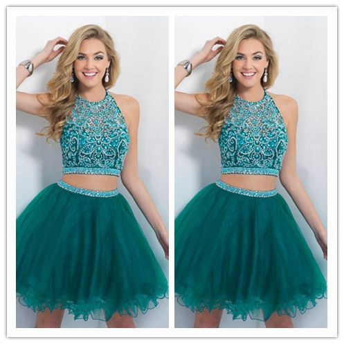 Turquoise Homecoming Dress/Tulle Homecoming Dresses/2 Pieces Party Dress/Short Prom Gown #H006
