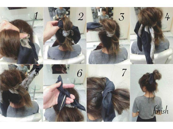 バンダナを使ったお団子アレンジ手順②   ①輪っか状にした髪の毛にバンダナの先をいれます。 ②③完全にバンダナを通しきります。 ④⑤バンダナの先を2つにして下から上に巻付けます。 ⑥⑦トップで2つの束をしっかり結んで完成です。