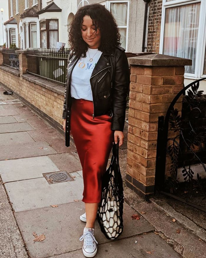 Autumn Outfit Ideas leather jacket and slip skirt with trainers
