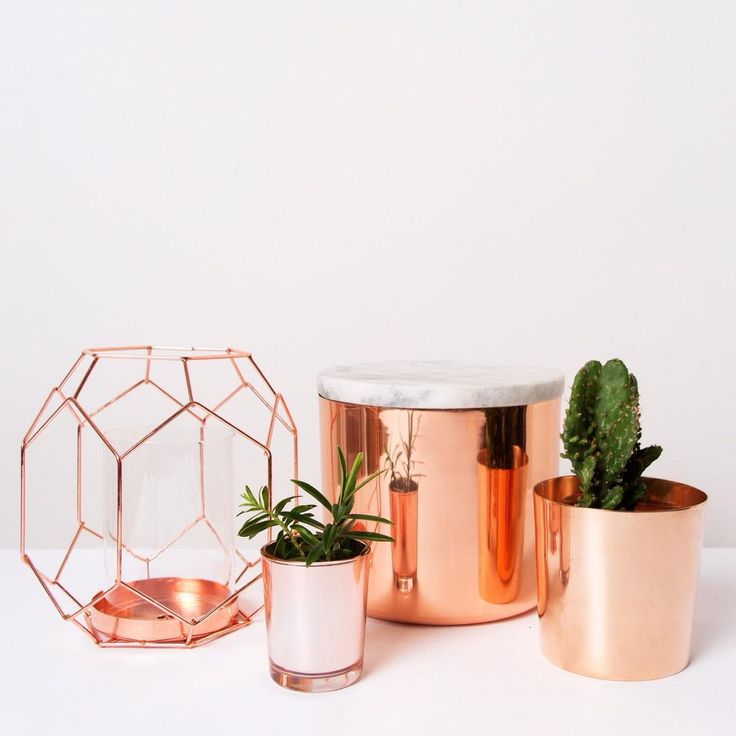 att pynta copper homewares candleholder succulent pot plant jewellery box with marble lid - Copper Home Decor