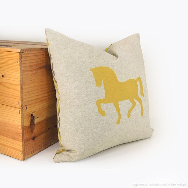 16x16 Horse Pillow Case, Cushion Cover | Yellow and Gray | Animal Print | Horse in Mustard, Taupe & Beige with Geometric Diamond Accent, Damask et Dentelle - Carrefour d'achats