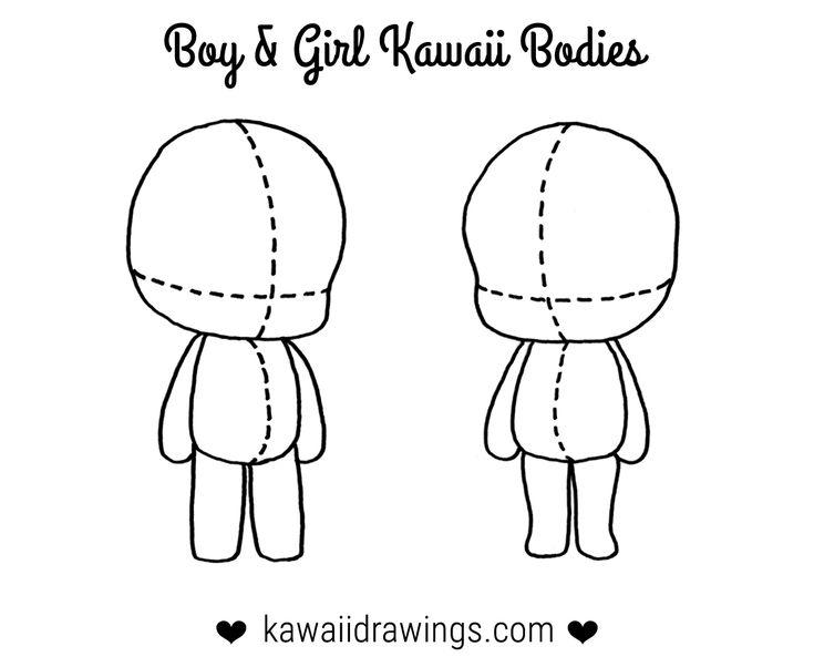 How to draw kawaii body for a boy and girl, kawaii drawing tutorial
