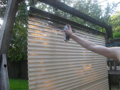 Spray paint those dingy yellowing sunburned vinyl blinds to something fabulous and new!!  This works very well with blinds that have the faux wood texture.
