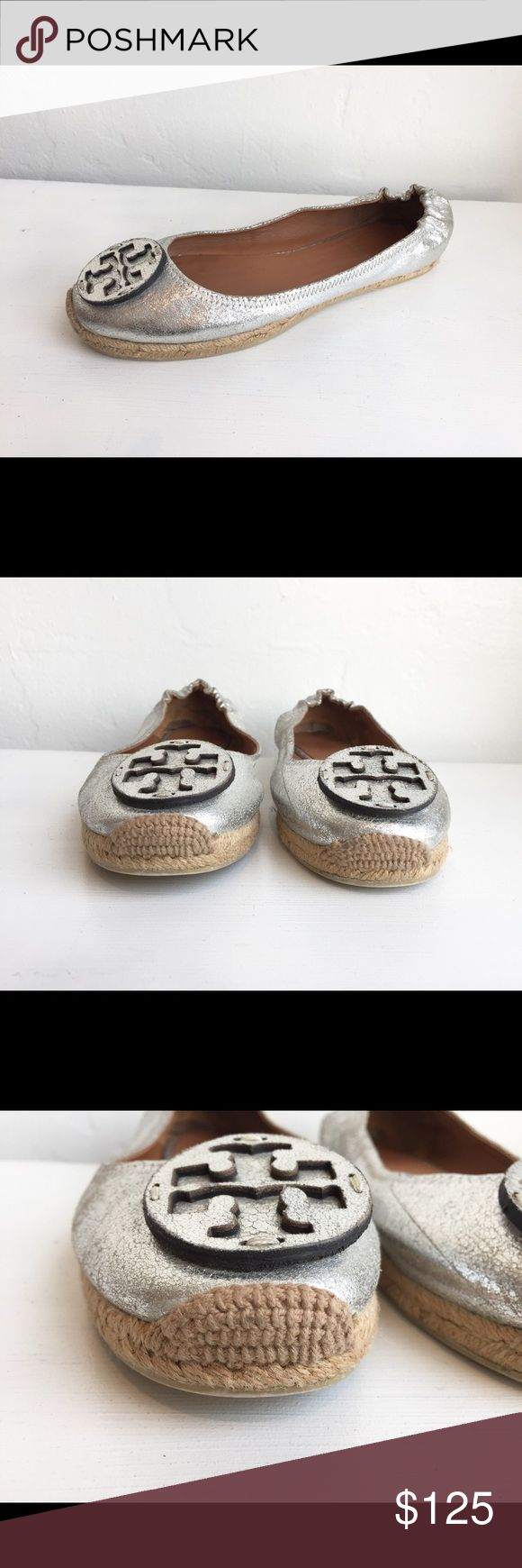 "TORY BURCH Silver Espadrilles Flats size 8 M TORY BURCH Silver Metallic Espadrille Flats size 8   Leather upper  Leather lining Padded insole Rubber sole Leather medallion Espadrille heel 1/2"" platform height Imported  Very lightly used! Tory Burch Shoes Flats & Loafers"