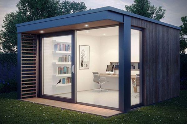mini pod garden office shed ideas sliding glass doors modern interior
