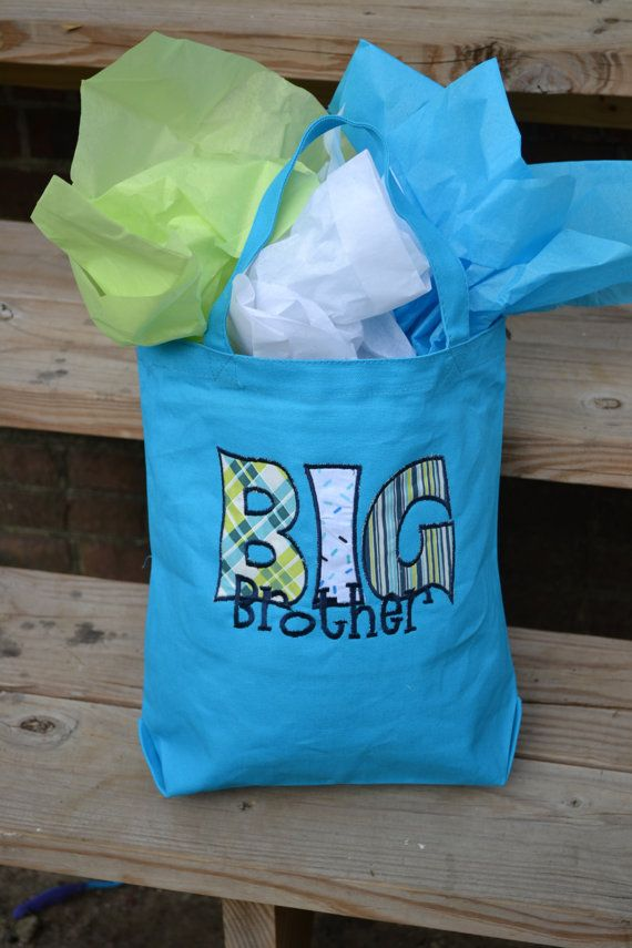 Big Brother Gift / Big Sister Gift / Tote Bag cute to fill with things for the hospital room after baby arrives. Would be the as a present from the baby, way to get in good from the beginning.