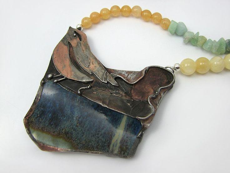 Double-sided necklace - ceramics and copper Dwustronny naszyjnik z ptaszkiem w Sztuk_Kilka_Silver na DaWanda.com