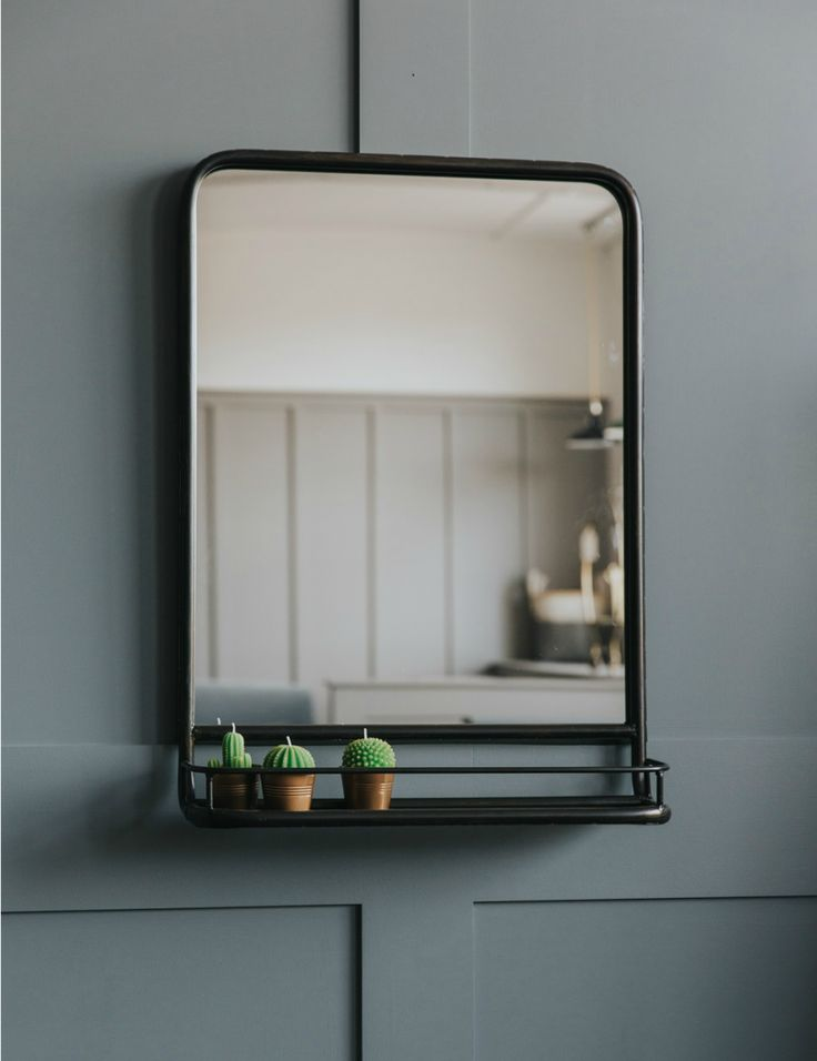 Superb Large Industrial Mirror With Shelf