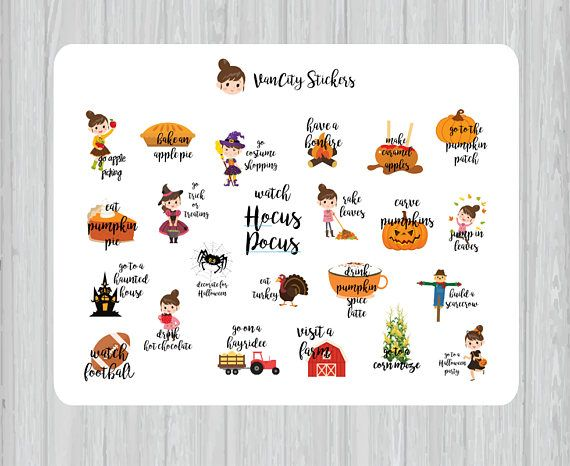 Fall Bucket List Stickers To Do List Stickers Autumn